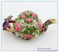 Enamel 100% handmade teapot shape jewelry box wholesale jewelry packaging box SCJ115