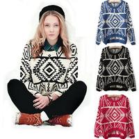 Hot Selling 2014 Women's Euro Geometric Knitting Pullover Sweater Blazer Loose Long-Sleeve Retro Vintage Asymmetric Sweaters