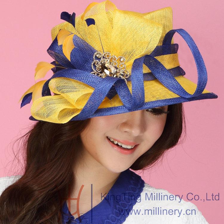 Free Shipping Women Hat Sinamay Hat Flower Hat Sinamay Ribbon Sinamay Feathers Two Tone Colors Wide Brim Women Dress 2014(China (Mainland))