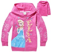 Frozen Elsa Hoodie Cute Long Sleeve Zip Cardigan Sweatshirt Girl's Hoody Top Cloths Wholesale 6pcs/lot
