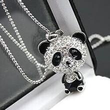 $10 (mix order) Free Shipping Imitation Diamond Sweater Chain Necklace Cute Female Panda Jewelry N4079 10g