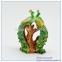 Hotsale Peacock metal trinket box wedding pewter box golden plated enamel hand painted SCJ1068