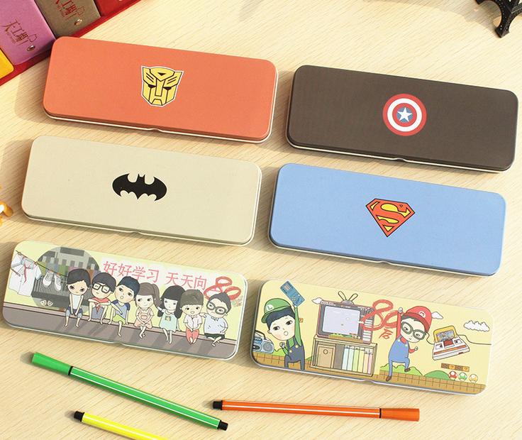 Pencil case pen boxes Desktop receive school office hero series Personality hero Captain America batman transformers superman(China (Mainland))