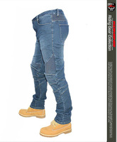 With protections! New R2 Locomotive jeans With knee protector Rider pants CE Gear Motorcycle Leisure Cultivate Jeans Blue
