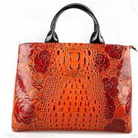 2015 New Style Genuine Leather Bag Alligator Pattern Women Handbag Fahion Shoulder Bag Rose Flower Women Leather Handbag Tote