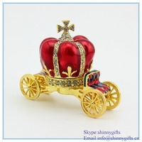 Factory direct sale pumpkin carriage shape jewelry box for Christmas gift SCJ1066
