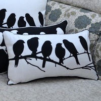 30*50 cm Decorative  Black White Bird Printed Throw Cushion Cover Pillow Case for Couch Wedding Gifts