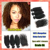 Cheap 4pcs/lot Mongolian Kinky Curly Hair 3pcs Virgin Human Hair Bundles With 1pcs lace closure Free Shipping Hair Extension