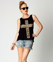 2014 Summer New Fashion Women Thin Two Piece Set Leopard Cross Print Tank Tops+Chest Wrap, White, Black, M, L, XL