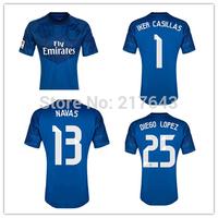 New 14/15 Real Madrid home goalkeeper #1 iker casillas GK Jersey Blue #13 NAVAS #25 DIEGO LOPEZ soccer uniforms Cheap