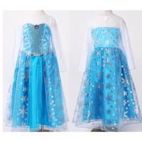 In Stock Frozen Dress Party Dresses Fashion Elsa Costume Summer Dress 2014 Princess Baby Girls clothes Kids Fantasia tcq 014
