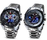 TVG Stainless Steel Handsome Fashion Blue Binary LED Pointer Analog-Digital Military Watch Men's quartz 50AM Waterproof Watches