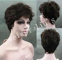 Latest Short Hairstyle 100% Human Hair Natural Dark Brown Natural Layered Wig #2 free shipping