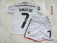^_^14-15 Real madrid Home white Kids/youth #7 Cristiano Ronaldo soccer Uniforms,2014 children football jersey kits free shiping