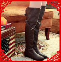 new 2014 bota over the knee high boots women winter boots riding boots botas low heel leather shoes big plus size 34-44