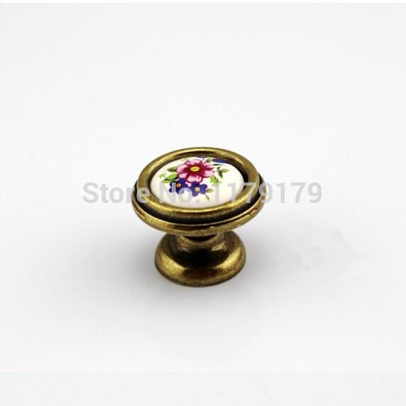 32mm ceramic kichen cabinet knobs Bronze cupboard pulls antique brass drawer dresser furniture handles knobs pulls TC608(China (Mainland))