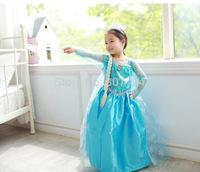 Free Shipping 2014 Hot Selling New Style Girls Frozen Dress Elsa Anna beautiful Dress Fashion princess Dress Children's Cloting