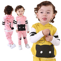 Free shipping 2014  Autumn new brand baby clothes three-piece suit  Male and female baby kitten clothes set baby clothing