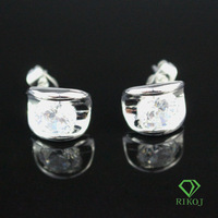 wholesale jewelry 2014 new fashion 18k white gold plated  austrian crystal rhinestone alloy stud earrings for women
