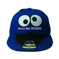 Original Export Order Sesame street A-class goods flat  dome hat child cartoon hip hop baseball cap in beautiful embroidery Blue