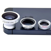 Free Shipping Magnetic 3 in 1 Wide Angle Lens + Macro Lens + 180 Fish Eye Lens For iPhone 4 4s 5 5s 5c, for Slim mobile phones