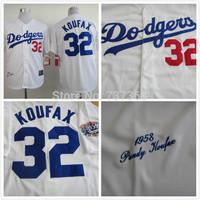 cheap free shipping stitched LA Dodgers jersey #32 Sandy Koufax throwback 1955 baseball Jersey/shirt Embroidery Logos