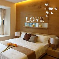 Free shipping acrylic diy fashion mirror wall decor love heart home decoration for living room wedding room mirror wall sticker