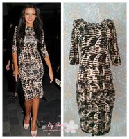 Free shipping sexy women's leopard print half-sleeve knee length dress D5056