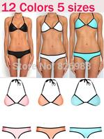 2014 Women's fashion triangl Neoprene Bikinis New Arrival sexy push up Neoprene SWIMSUIT Set Free shipping 12 colors