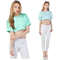 2014 Summer New Designer Women Brief High Street Plain Viscose Elastic Plus Size Roll Up Short Sleeves T-shirt Crop Tops