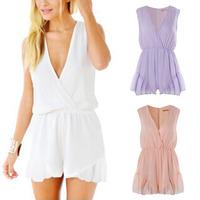 2014 Summer Women's Jumpsuits Deep V Sexy Ruffled Sleeve Jumpsuit Hot Pants Shorts Skirt Dress Playsuit