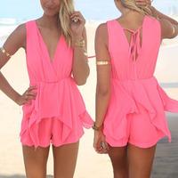 New 2014 Summer Women's Jumpsuits Sexy Celeb Sleeveless V-neck Playsuit Summer Beach Jumpsuit Short Hot Pant