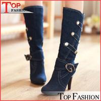 Big size 32-43 New women Spring autumn fashion Half boots denim Thin heels Buckle strap Solid Black Blue Fashion Cool Hot sale