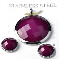 2014 New Women Pendant&Earrings Jewelry set Round Crystal Stainless Steel 5 Colors Wholessale Free Chain