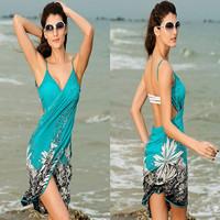 New Sexy Beach Wrap Skirt Swimwear Open Back Deep V Dress Swimsuit One Piece Women Sarong Bikini Beach Cover-ups Pareo Skirts