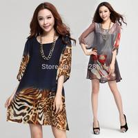 L-XXXL Casual Dress Chiffon Summer Autumn 2014 A-Line O-Neck Half Sleeve Leopard Print Knee-Length Women's Fashion Dress NL53