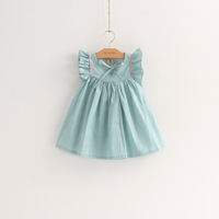 6pcs/lot wholesale ruffles sleeve kids dress summer clothes ,princess gril dress, children dress clothes