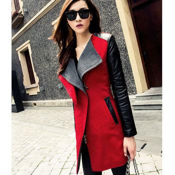 Женщины trench coat, leather coat , stitching Цвет coat The female Длинный Шерстьlen ...