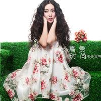 2014 new summer white organza print silk chiffon women summer dress lady print  bandage dresses