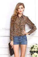 New 2014 Fashion Women Chiffon Blouses Sexy Leopard Print Summer Autumn Long Sleeves Button Down Shirts Top  Plus Size 0912