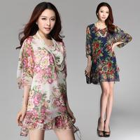 L-XXXL Autumn 2014 Chiffon Dress O-Neck Half Sleeve Bohemian Print A-Line Knee-Length Loose Maxi Women's Fashion NL42