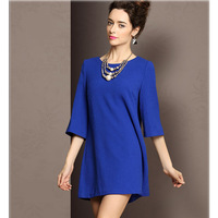 2014 Hot Sale Women Elegant Dresses Three Quarter Sleeve Natural Color Straight Mini Dress, Hot Pink, Dark Blue, S, M, L, XL
