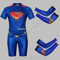2014NEW SUPER HERO  Blue The Super Man Bicycle Cycling Kits Wear Jerseys Shorts Suit + Bib Pants +Oversleeve SIZE:M/L/XL/XXL