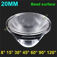 300pcs 20mm 8 15 30 45 60 90 120 Degree bead surface LED optical Lens for 1W 3W 5W LED Lamp Condensing Lens Free shipping