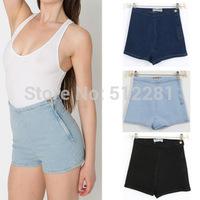 Free Shipping American apparel aa Women vintage high waist denim shorts female denim shorts