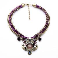 summer 2014 women braided rope vintage women necklace trendy charming gems luxury statement necklace 2014