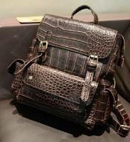 2014 female vintage preppy style crocodile pattern lovers backpack travel bag dual-use student school bag