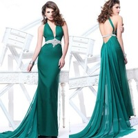 Custom made Formal Prom Gowns 2015 Halter Backless Green/Teal Satin long length Evening dresses ZY107