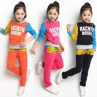 2014 New Autumn 4-14Y Kids Clothes Sets Fashion Letter Children Hoodies&Pants Sports Suit Long Sleeve Girls Clothing Sets C20W22