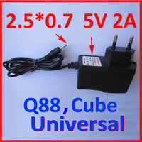 Free Shipping EU Power Adapter for Q88 Flytouch Cube Chiwei China Tablet PC Europe Charger 5V 2A 2.5mm 90cm Round Pin Wholesales